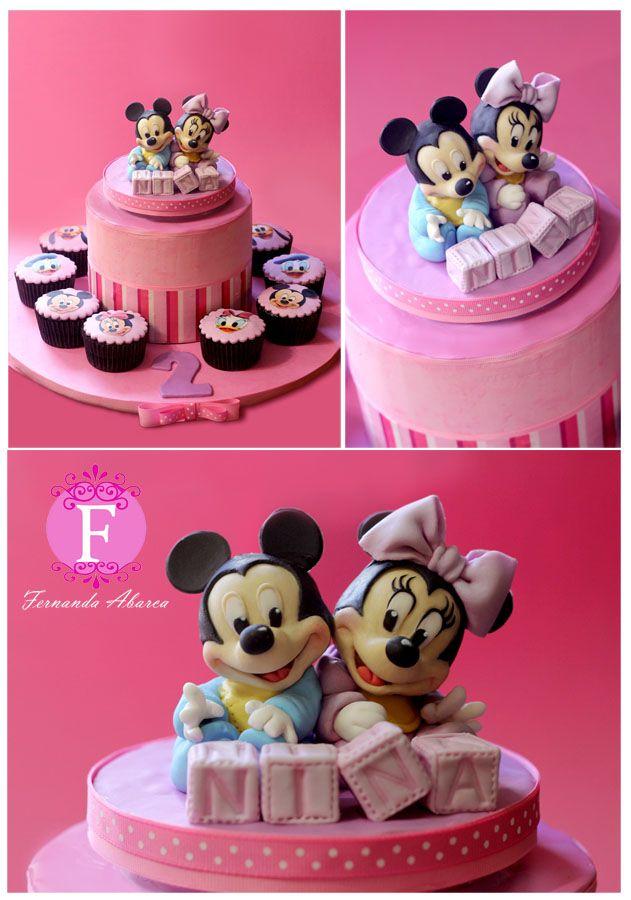 Mickey & Minnie Cake. Figures made of sugar paste!