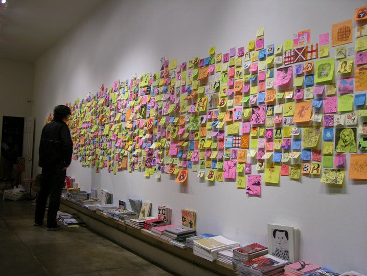 post it wall (motivational, bucket list, quotes, cute tiny drawings)