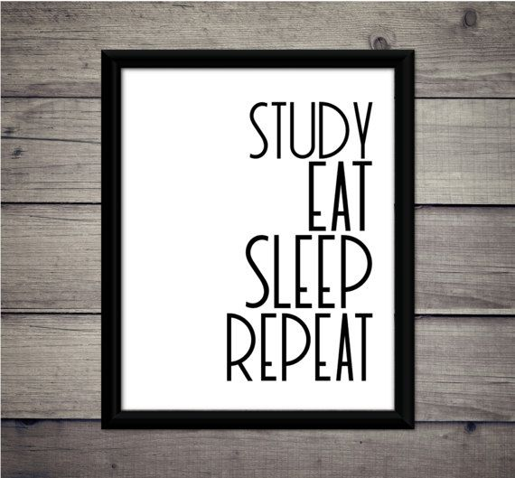 Study Eat Sleep Repeat  Academic Print  by ThoughtWorksByAbby