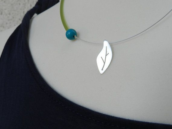 Olive tree leaf silver necklace : Minimal gift and everyday gift!