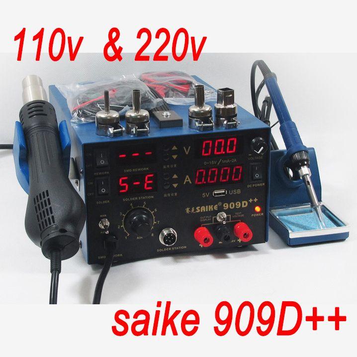 SAIKE 909D + + 3in1 Термовоздушной паяльной Станции паяльник Термофен + Питания Сварки Ремонт Паяльной Станции