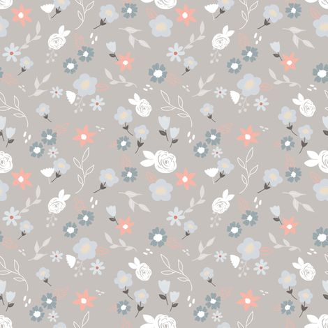 Little blooms grey fabric by >>mintpeony<< on Spoonflower - custom fabric