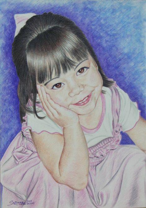 Portrait of my daughter  medium is watercolour pencils