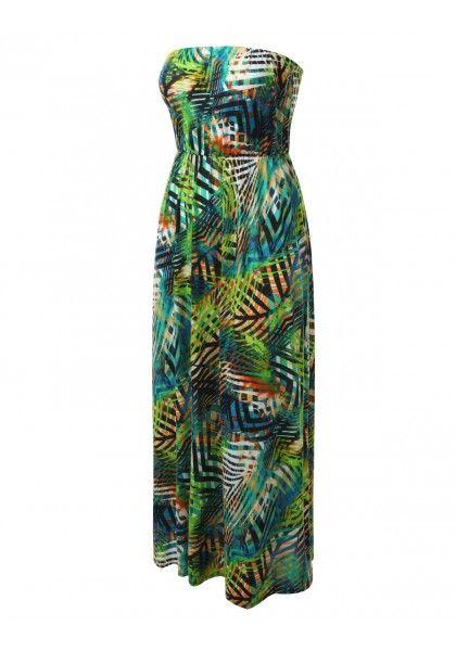Tube Tropical Print Maxi Dress #jtomsonplussize