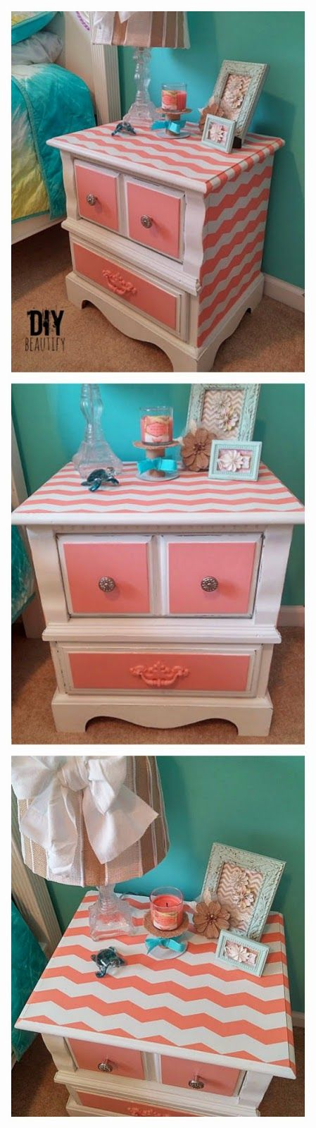 Chevron Stripes on nightstand www.diybeautify.com #frogtape #chevron #chalkpaint