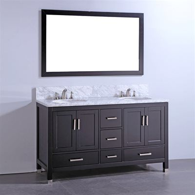 Legion Furniture WA6160 60-in Solid Wood Double Bathroom Vanity with Sink and Mirror  Carrara white marble top with white ceramic sinkPre-drilled with