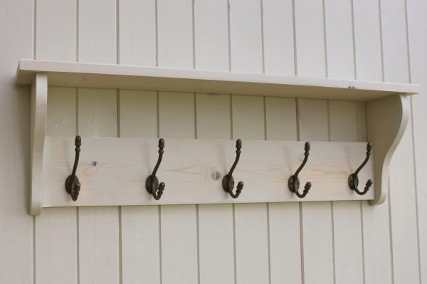 Hat and Coat Rack with shelf - Shabby Chic Distressed White Wash 3,4,5,6 hook | eBay £44 for 6 hooks 105cm