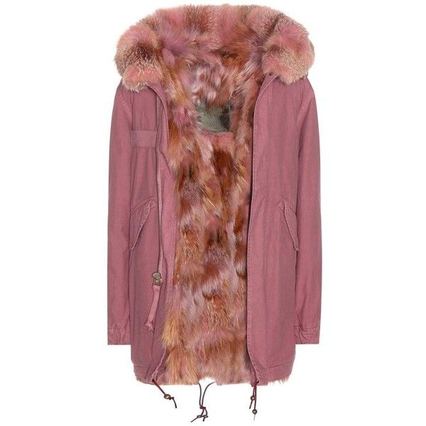 Mr & Mrs Italy Sofia Fur-Lined Cotton Parka (75.310 ARS) ❤ liked on Polyvore featuring outerwear, coats, pink, jackets, fur-lined coats, cotton coat, pink parkas, pink parka coat and fur lined parka coat