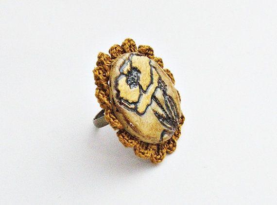 Poppy ring with crochet  polymer clay by spikycake on Etsy, $15.00