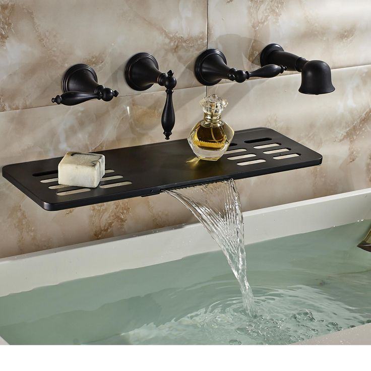 Wholesale And Retail Wall Mounted Bathroom Tub Faucet Oil Rubbed Bronze  Waterfall Spout W/ Soap Dish Holder Hand Shower Sprayer