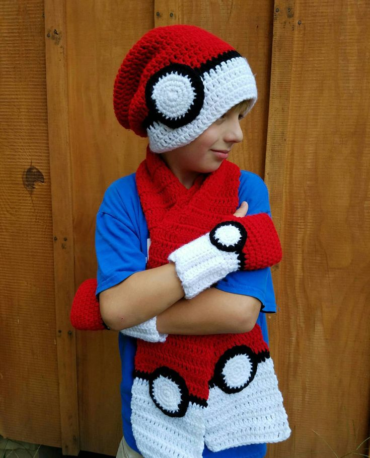 SALE Crochet Pokemon Pokeball Hat, Pokeball Fingerless Gloves, Pokeball Scarf, Texting Gloves, Crochet Pokemon Accessories, Pokemon Clothing - $9.38 USD