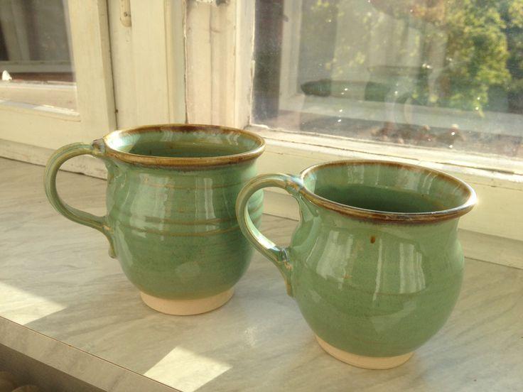 Danske keramikkrus fra Møn, farge som jade.