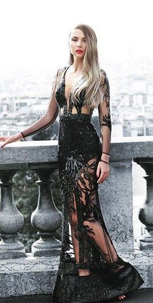CRISTALLINI #BlackDress #Sequins #RedCarpet #Prom #Luxury
