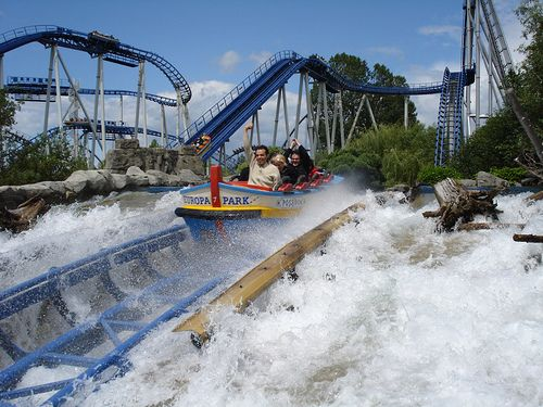 Europapark.  Children 4+ Eur 34, Adults Eur 39 (33 in Winter).  Located in Rust, Germany, north of Basel, CH and Freiburg, DE, not far from Colmar, FR