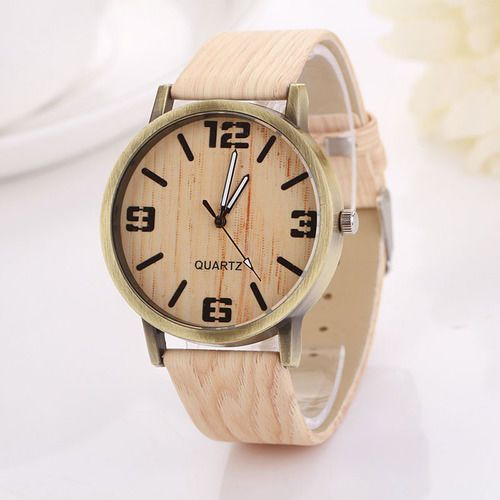 Wood grain texture light toned schoolgirl unisex fashion teen woman watch #Unbranded #Casual