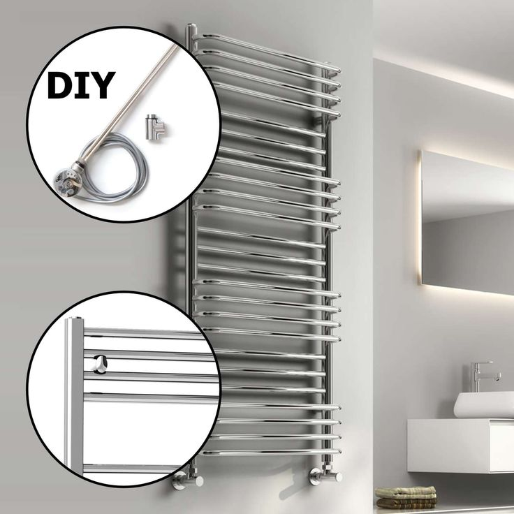 Dual Fuel Reina Marco Modern Heated Towel Rail H1400mm x W500mm - Chrome (DIY Thermostatic Dual Fuel Kit)