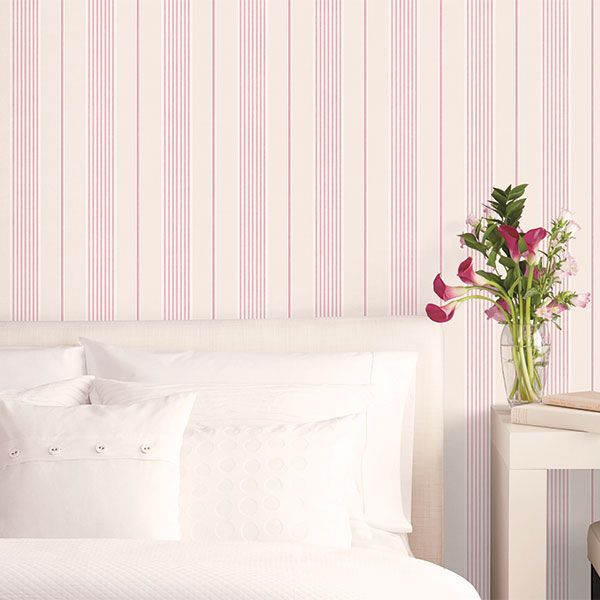 This red and cream stripe looks great in the bedroom. Jardin Chic Collection by Galerie - G67323R