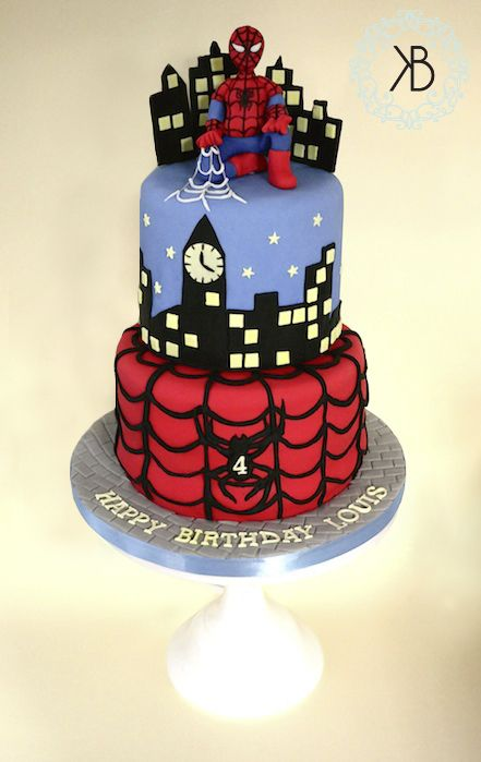 My Spiderman cake! All edible - chocolate cake with vanilla buttercream and fondant icing