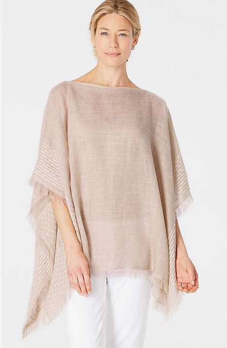 Image for Pure Jill Artisanal-Border Poncho fro… | Capes | Pinte…