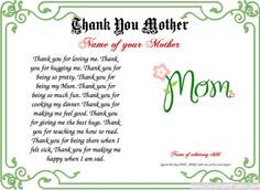 Thank You Mother Certificate. Free Certificate templates. You can add text, images, borders & backgrounds. Select images from our library or upload your own for a truly original certificate. #mom #mum