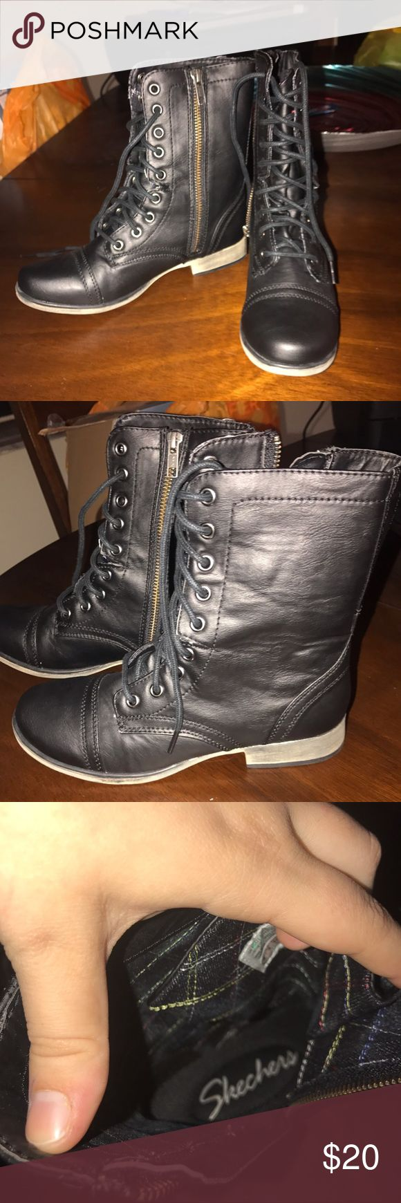 Combat boots size 6 Skechers Skechers. Color: Black size: 6 ladies Skechers Shoes Combat & Moto Boots