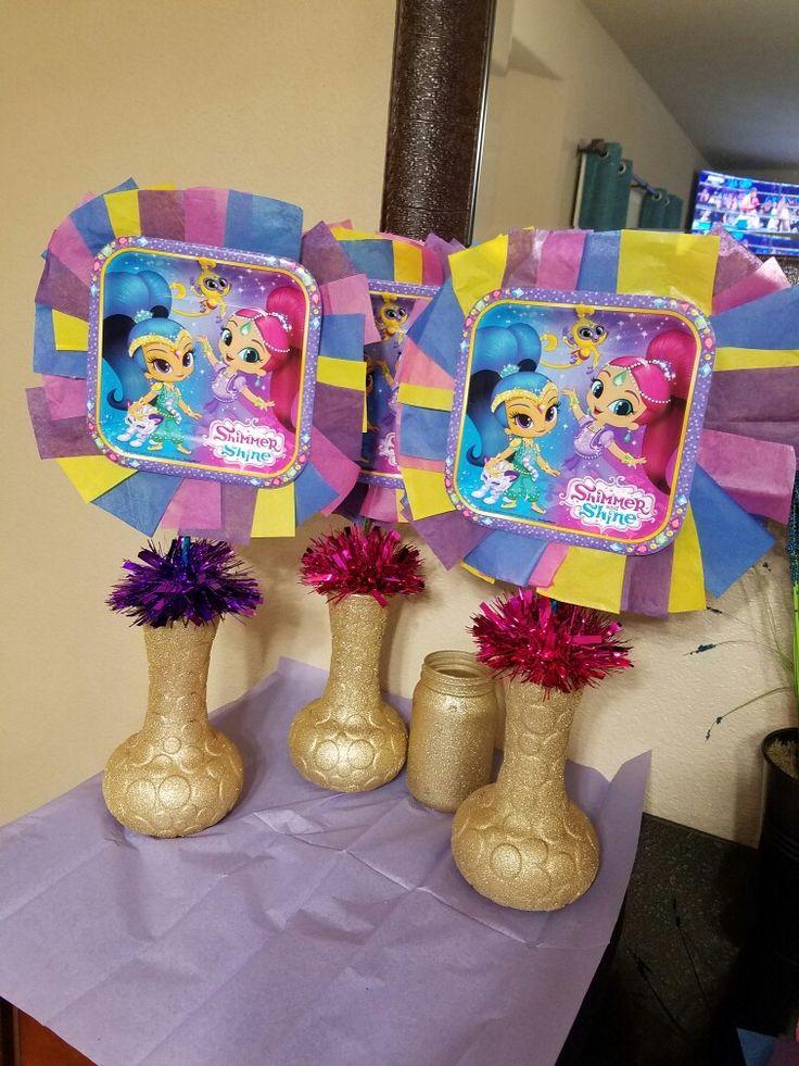 Shimmer and shine centerpieces birthday party ideas - Ideas diy decoracion ...