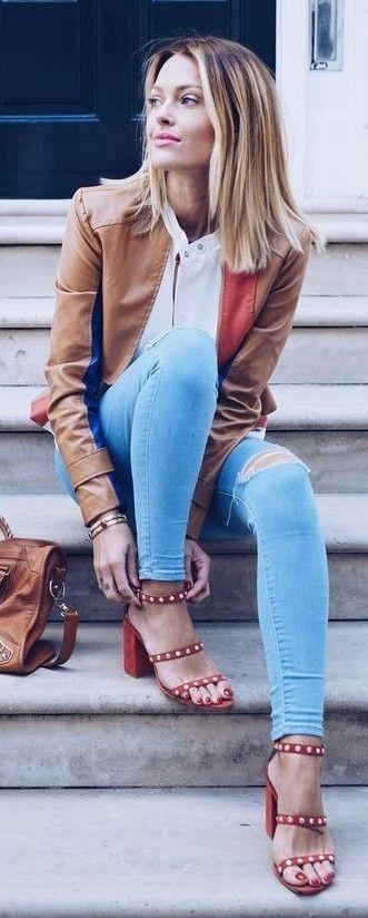 Camel, White, Light Blue and Pop Of Red |Caroline Receveur                                                                             Source