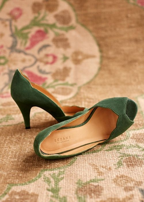 Green velvet peep toe pumps