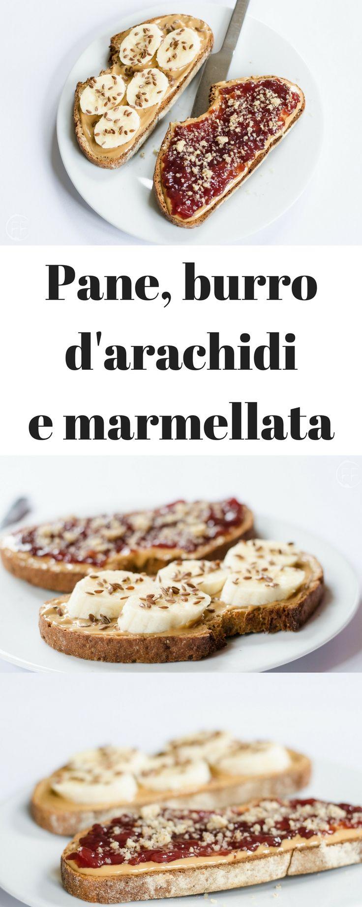 Pane, burro d'arachidi e marmellata.  Sul blog altre ricette vegan light, estive, dolci vegani, senza glutine, per la dieta, proteiche, vegetariane e vegane, veloci e facili in italiano.