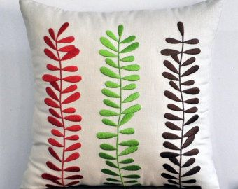 Red Brown Floral Throw Pillow Cover Beige Brown Linen by KainKain