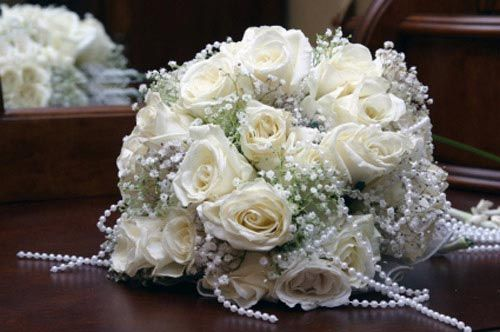 stunning white rose bridal bouquet - faux pearls beaded bouquets