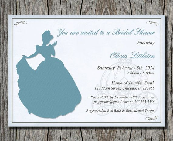 i design ♥ you print ================    If you are throwing a Disney Theme Bridal Shower, then give your guests a treat with this customizable