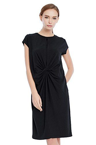 4baa9880ec46d nursing tops - Nitan Maternity Front Twist Nursing and Breastfeeding Dress  M Black >>> You could find out more details at the link of the picture.