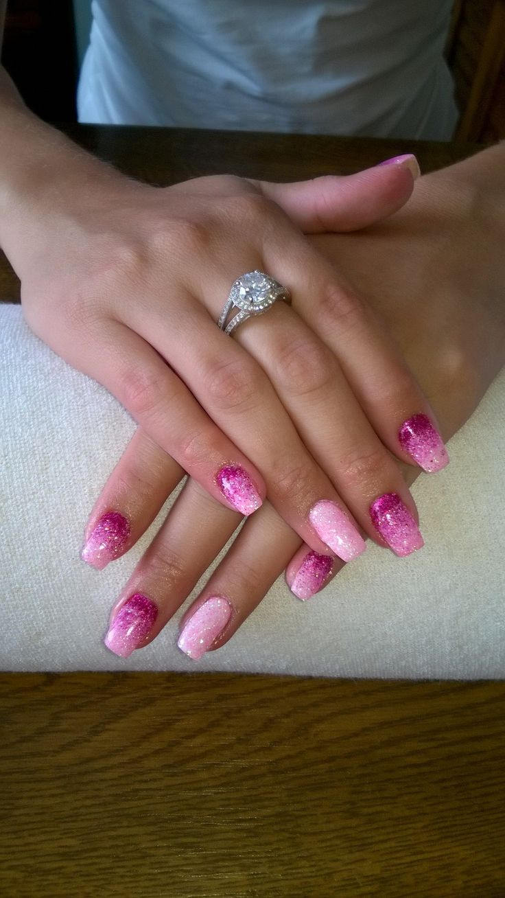 pink and white gel and pink glitter