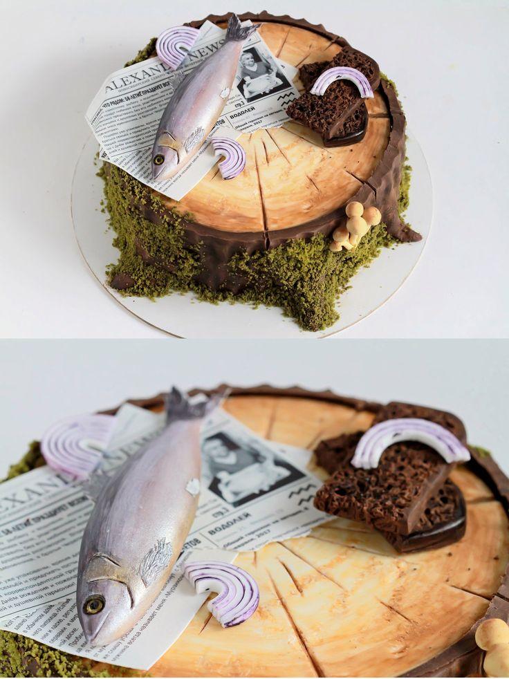 """Mousse cake stump. Honey cake with boiled condensed milk;multifruit confit and cream cheese mousse. Торт-пень. А внутри он скрывает медовые коржи,пропитанные Лаймовым сиропом,с прослойкой из варёной сгущёнки;конфи мультифрукт;сырный мусс. Тортик для дяди-рыбака. """"Газета"""",на которой лежит рыбка,написана мною,в честь именинника,и содержит его фотографии. Ах да - декор съедобный!"""