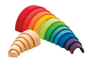 Wooden Rainbow and Tunnel. Children can build and explore with this quality wooden tunnel set.