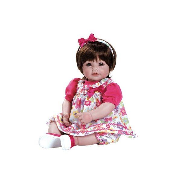Deze Adora peuterpop heeft mooie groene ogen en echte wimpers. Ze heeft een lieve glimlach, mooi bruin haar en ruikt heerlijk naar baby poeder. Ze draagt kleurig kleertjes met een bijpassende diadeem. Ze is ruim 50 cm groot.Een lieve pop om eindeloos mee te spelen.Leeftijdsadvies:3