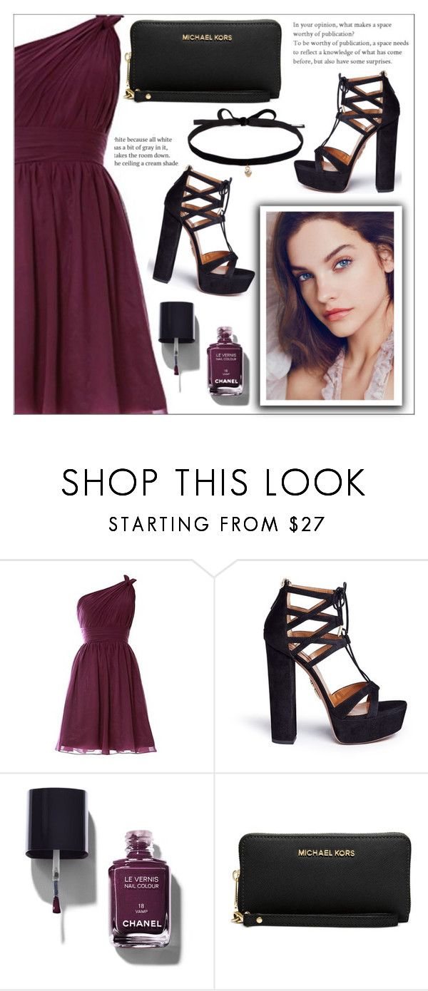 """Day #15: Brooke's party outfit"" by makenziethedancer ❤ liked on Polyvore featuring Aquazzura, Chanel, Michael Kors and Joomi Lim"