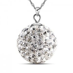 Ball Drop 925 Solid Sterling Silver Pendant White Gold Plated