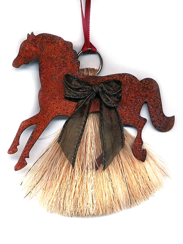 Cowboy Collectibles Natural Horse Hair Pony Christmas Ornament