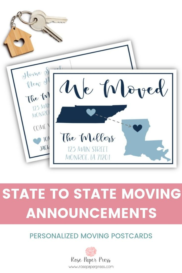 State To State Heart Moving Postcards Moving Announcements Moving Cards New Address Cards