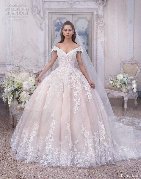 d3d528e31b5 demetrios 2019 bridal cap sleeves off the shoulder v neck heavily  embellished bodice hem blush princess ball gown a line weddin…