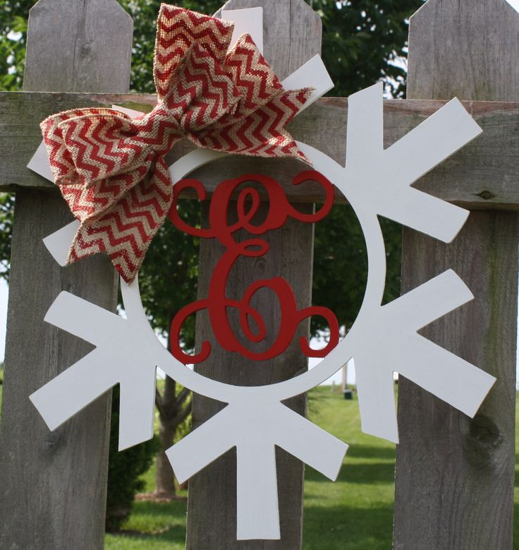 """18"""" Wood Snowflake Initial Door Hanging/Wall Décor-Winter Door Hanging, Winter Decor, Snowflake decor, Holiday Gift by GOalphabetsoup on Etsy"""