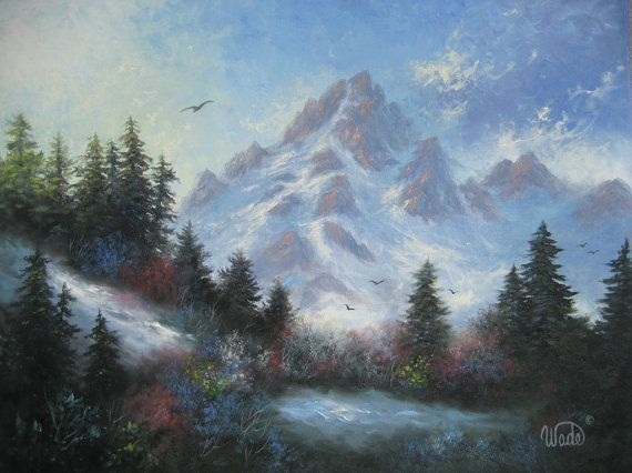 snowy mountain landscape painting. mountain oil painting snowy mountains paintings landscape snow scene art water falls pinterest