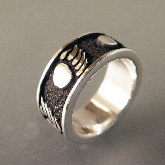 Bear Track Nature Ring Wedding Band By ChrisMuellerJewelry On Etsy