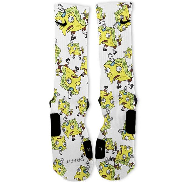 SpongeBob Meme SpongeMock Custom Nike Elite Socks – Fresh Elites