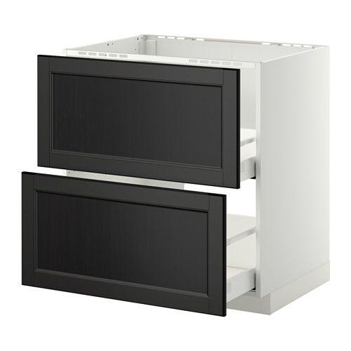 METOD / MAXIMERA Unterschr. f Spüle/2 Fronten/2Sch. - Laxarby schwarzbraun, 80x60 cm - IKEA