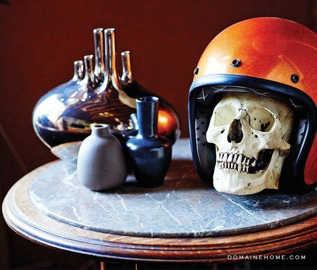 Table decorations // #skulls: Skulls, Midcenturi Furnishings, Beaches Adjac Loft, Blends Midcenturi, Motorcycles Helmets, Nightlife Enterpri, Enterpri Blends, Brent Bolthous, Venice Bas
