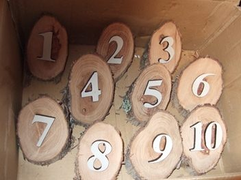 table numbers... use a wool bale stencil?