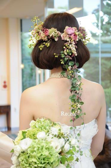 伸ばさなくても花かんむりで演出できる♡マーメイドドレス・スレンダードレスにオススメの髪型・ボブ・ショート・ミディアムの参考一覧❤